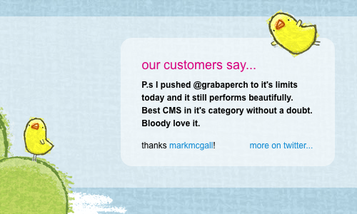 Screenshot of twitter testimonial on the Grabaperch website